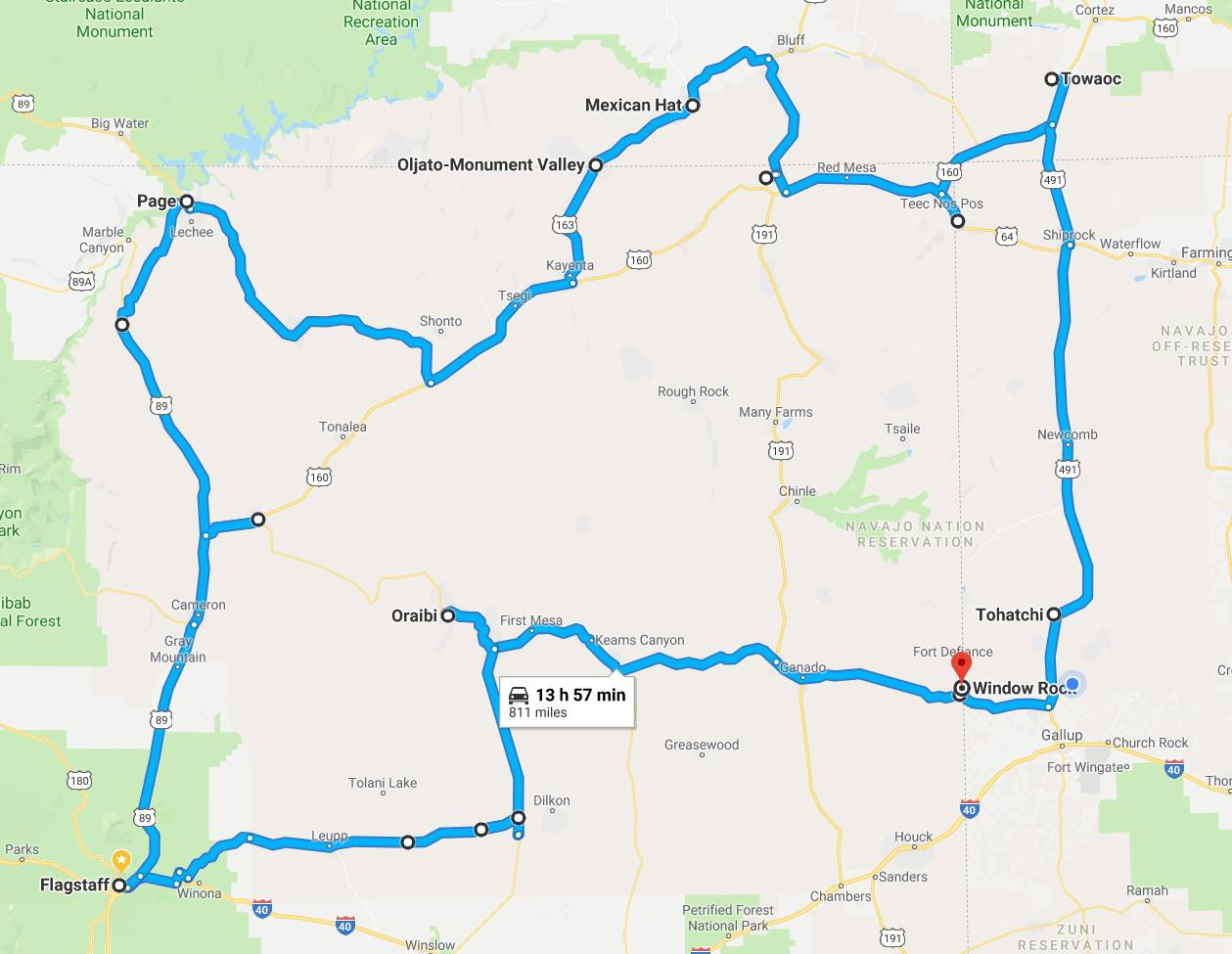 Navajo Hopi Honor Run route 2019