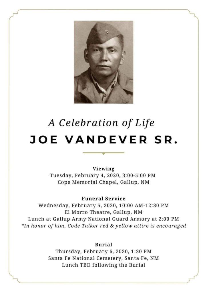 Joe Vandever Sr. Navajo Code Talker